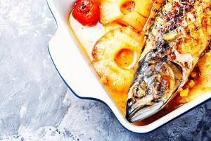 Delicious whole baked fish with pine