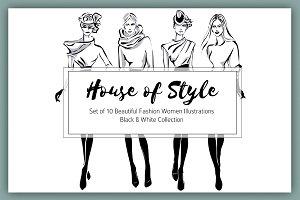 Set of 10 B&W Style Fashion Women