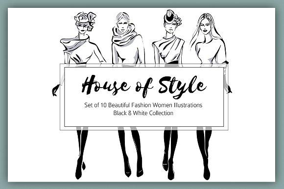 Set Of 10 B W Style Fashion Women
