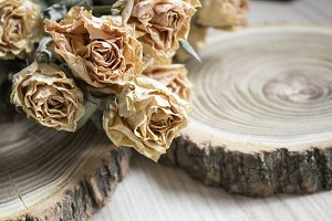 The cut wood with dried roses