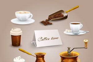 Coffee retro icons set