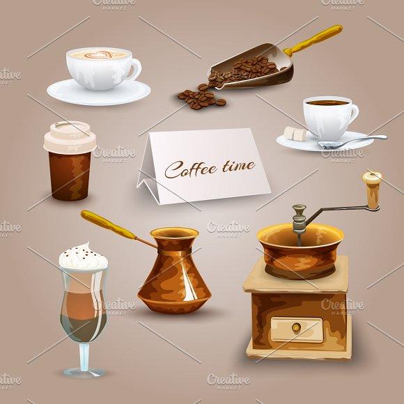 Coffee Retro Icons Set