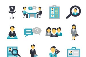 Human resources icons flat set