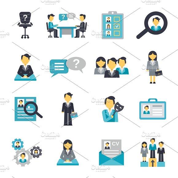 Human Resources Icons Flat Set