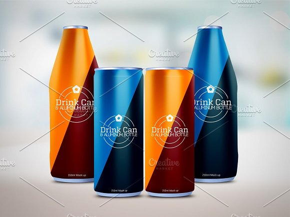 Drink Can Aluminum Bottle Mockup