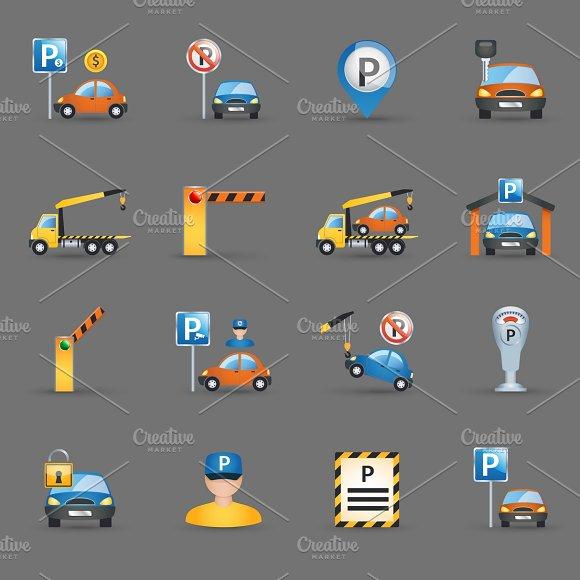 Parking Facilities Flat Icons