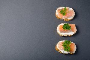 Salmon canape sandwiches