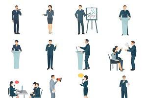 Public speaking skills flat icons