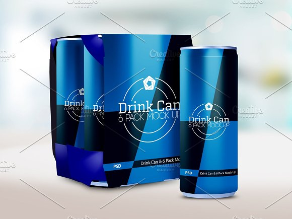 Drink Can 6 Pack Mock Up