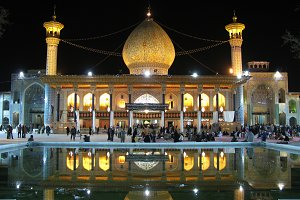 Shah Cheragh mosque at night lighting, Shiraz, Iran