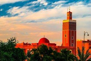 Exterior view to Masuda Wazzkaitih mosque in Ouarzazate, Morocco