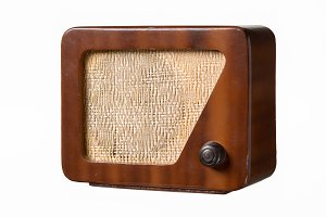Wooden retro radio.