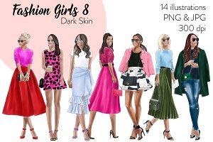Fashion Girls 8 - Dark Skin Clipart