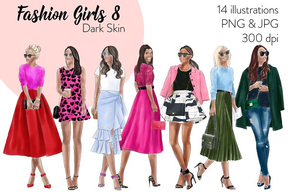 Fashion Girls 8 Dark Skin Clipart