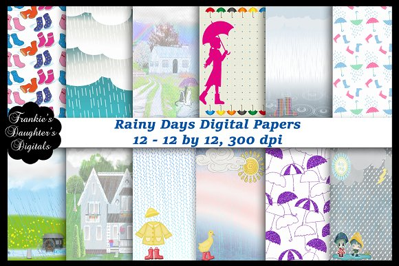 Rainy Days Digital Papers