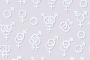 Sexuality symbols seamless pattern