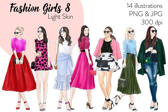 Fashion Girls 8 Light Skin Clipart