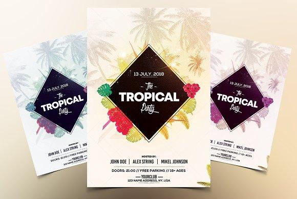 tropical party psd flyer template flyer templates creative market