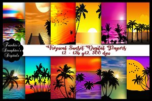 Tropical Sunset Digital Papers