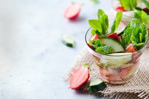 Cucumber strawberry mint fresh infused water detox drink cocktail lemonade