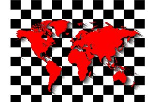 World map red color pop art