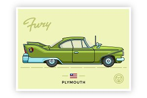 Vintage vector Plymouth Fury