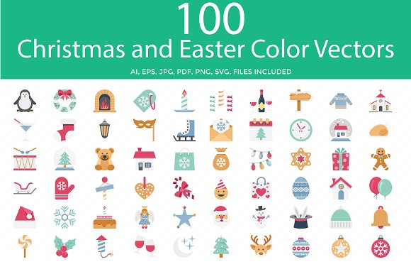 Christmas And Easter Color Vector Ic