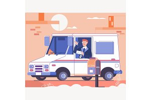 Postman delivering letters to mailbox of recipient.Smiling truck driver in the car. Flat vector illustration