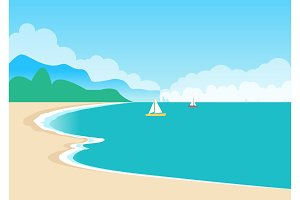 Cute Sea Coast, Color Banner, Vector Illustration