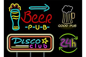 Beer Pub and Good Drink Neon Vector Illustration