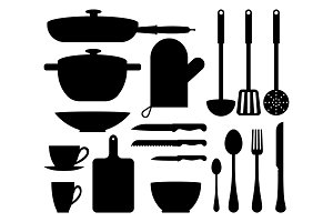 Kitchen Utensil Cute Patterns Vector Illustration