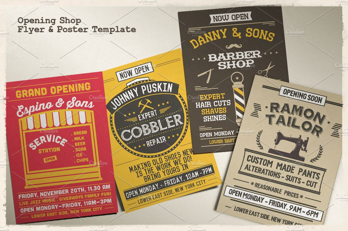 opening shop flyer poster template flyer templates creative market. Black Bedroom Furniture Sets. Home Design Ideas