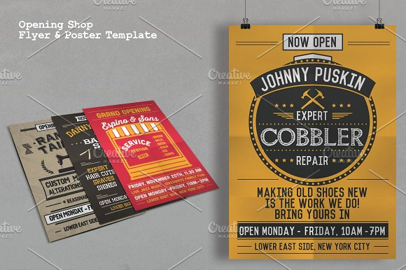Opening Shop Flyer Poster Template Flyer Templates Creative Market