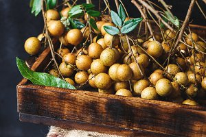 Fresh longan fruits