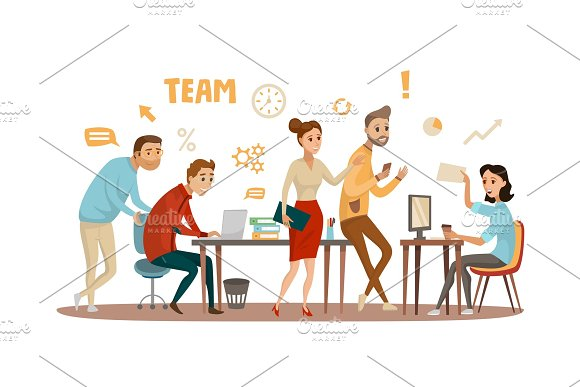 Business People Teamwork Workers In Office Working Together