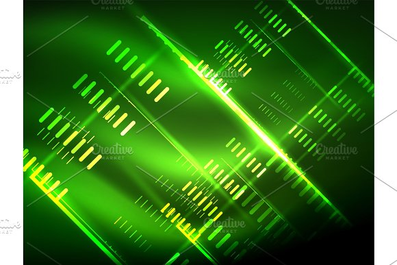 Futuristic Neon Lights On Dark Background Digital Abstract Techno Backgrounds