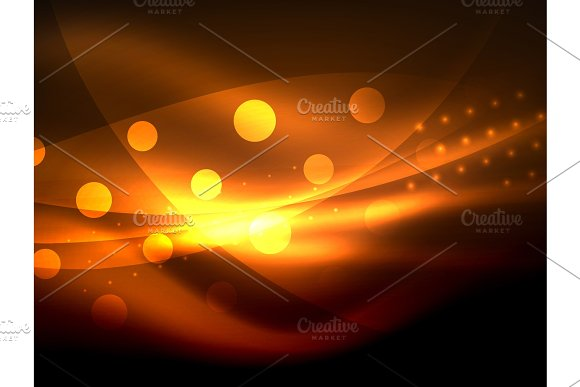 Neon Wave Background With Light Effects Curvy Lines With Glittering And Shiny Dots Glowing Colors In Darkness Magic Energy
