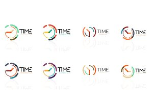 Clock time concept set, thin line flat design icons
