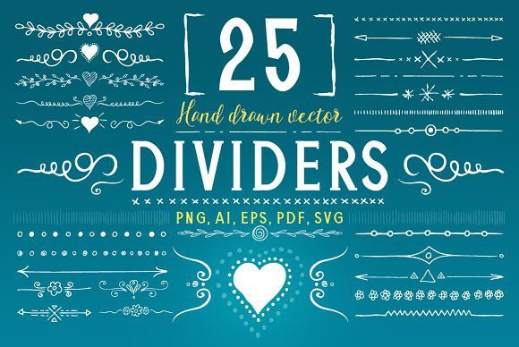 25 Hand Drawn Vector Divider