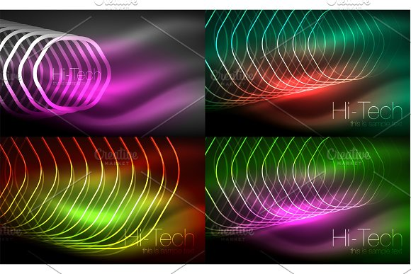 Collection Of Abstract Backgrounds Glowing Outline Repeating Hexagons