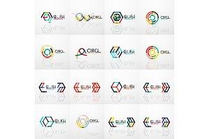 Linear abstract symbol business geometric logo set
