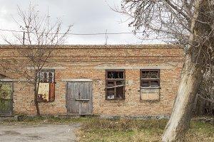 Abandoned building. Facade