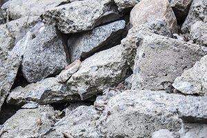 A pile of stones. Limestone, boulder
