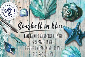 Watercolor clipart&#x3B; Seashell wreath