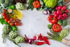 Assortment of fresh organic farmer market vegetables