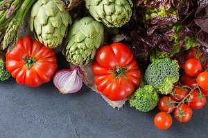 Assortment of fresh organic farmer vegetables
