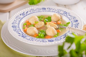 Fresh vegetable soup with chicken dumplings