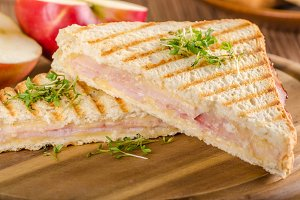 Panini cheese ham toast, fresh apple sandwitch