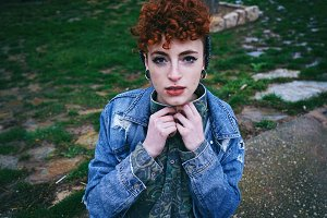 Young and alternative redhead woman