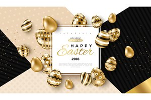 Easter card with frame and gold ornate eggs
